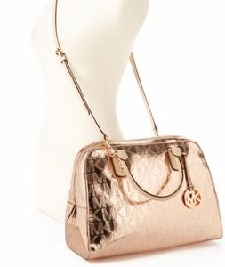 Micheal Kors Rose Gold Signature Large Satchel